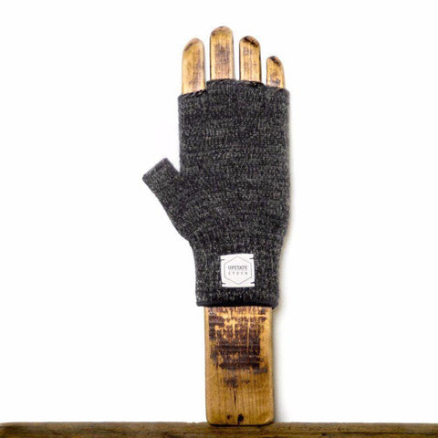 Upstate Stock - Rag Wool Fingerless Gloves - Black Melange