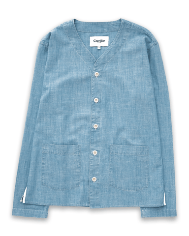 Washed Chambray Baseball Cardigan