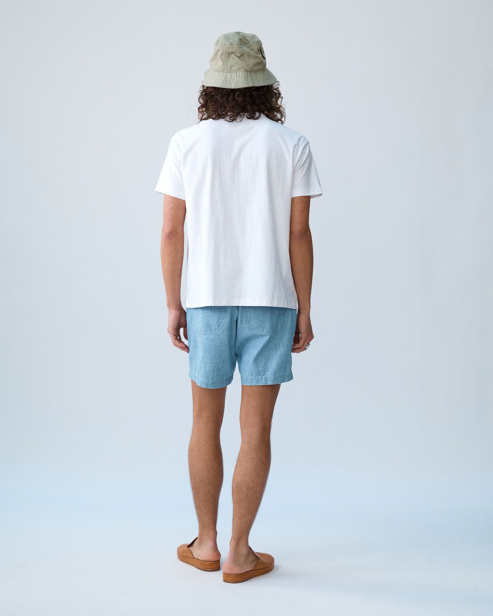 Washed Chambray Camp Pocket Shorts