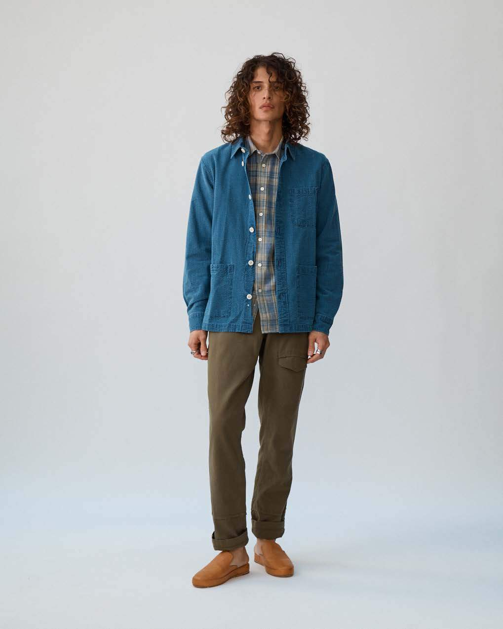 Washed Indigo Seersucker Overshirt