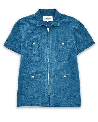 Washed Indigo Seersucker Pool Jacket