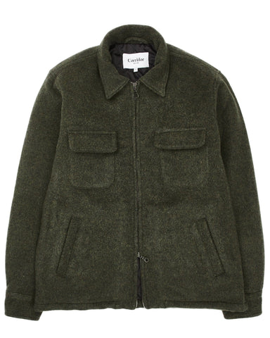 Lambswool (18oz) Zip Front Winter Jacket - Loden