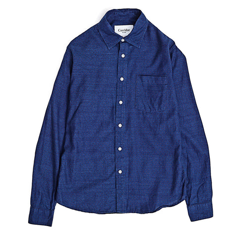 Indigo Herringbone Red Dot LS