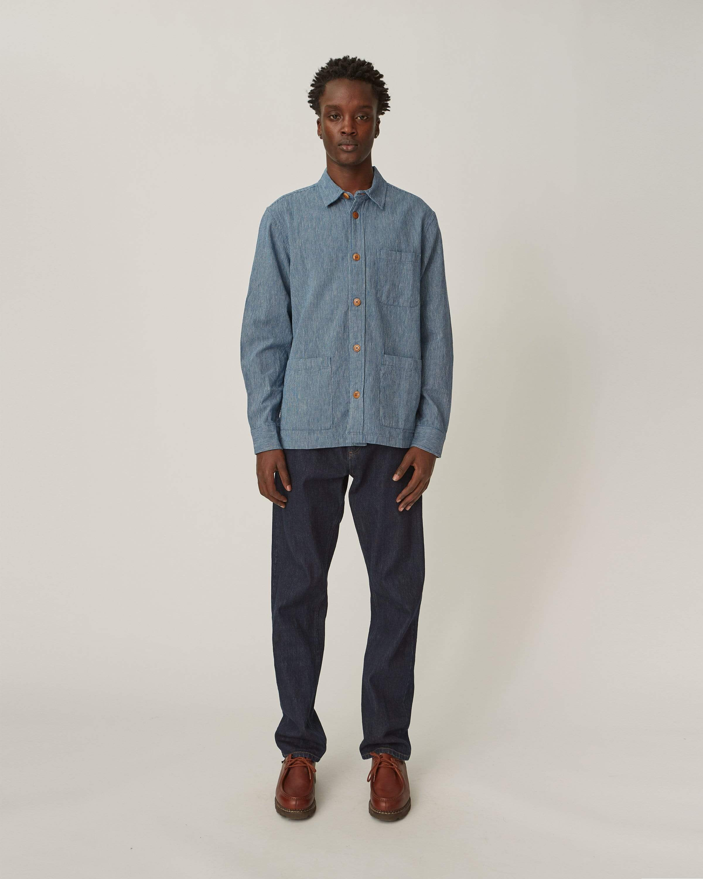 Ticking Stripe Linen Overshirt - Indigo