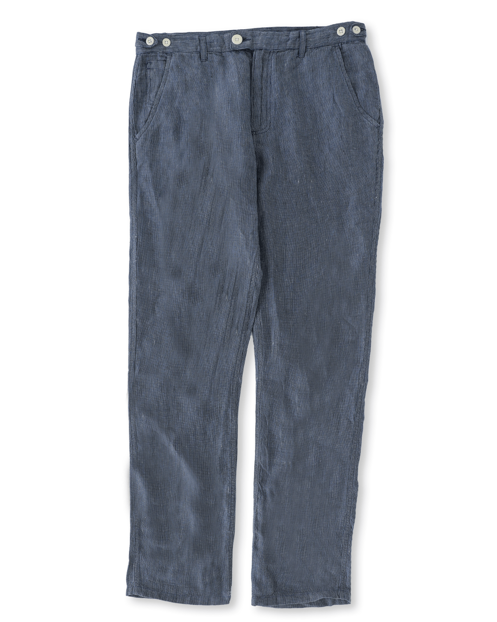 Navy Linen Stripe Trousers