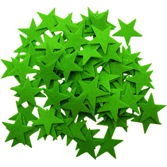 Green Felt Star Stickers (1.5 to 3 Inch)