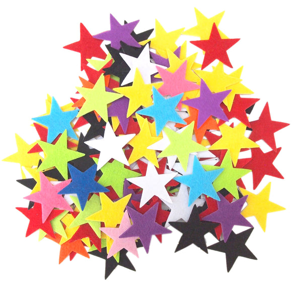 Mixed Color Assortment Felt Star Stickers (1.5 to 3 Inch)