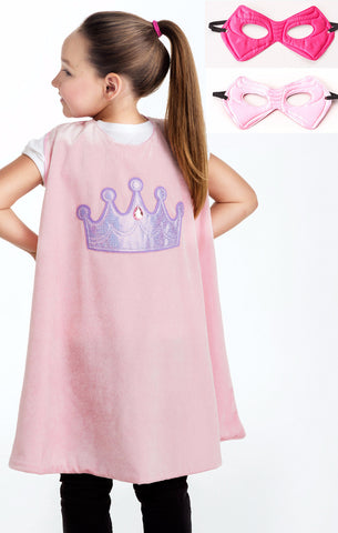 Little Adventures Pink Crown Cape & Mask Set