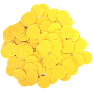 Yellow Felt Circle Stickers (1 to 4 inch)