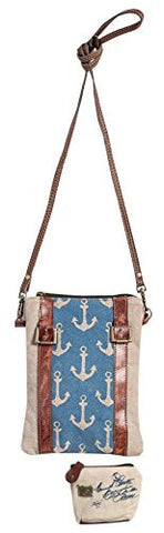 Mona B Upcycled Canvas Admiral Crossbody Bag M-3528 with Coin Purse