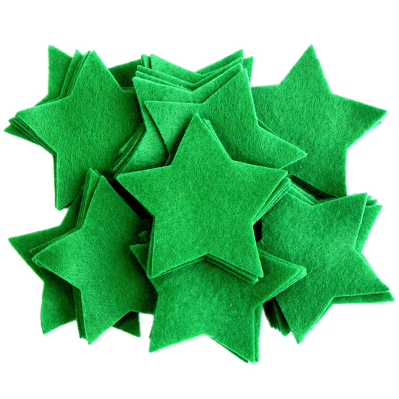 Craft Felt Green 3 Inch Stars - 45pc