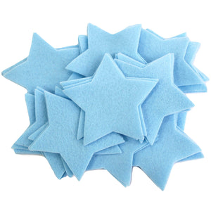 Craft Felt Light Blue 3 Inch Stars - 45pc
