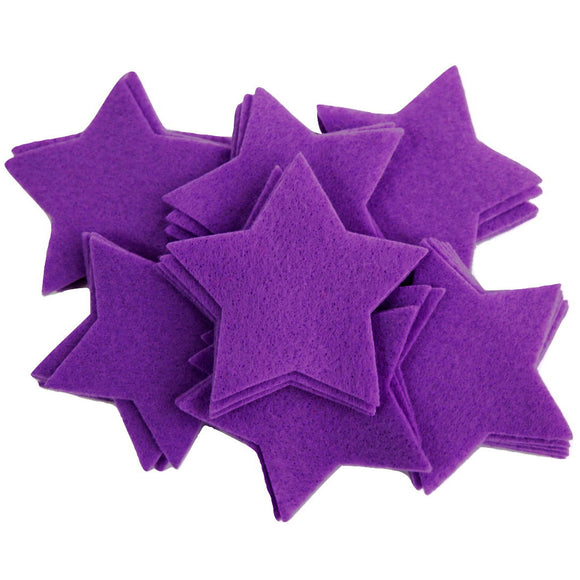 Craft Felt Purple 3 Inch Stars - 45pc