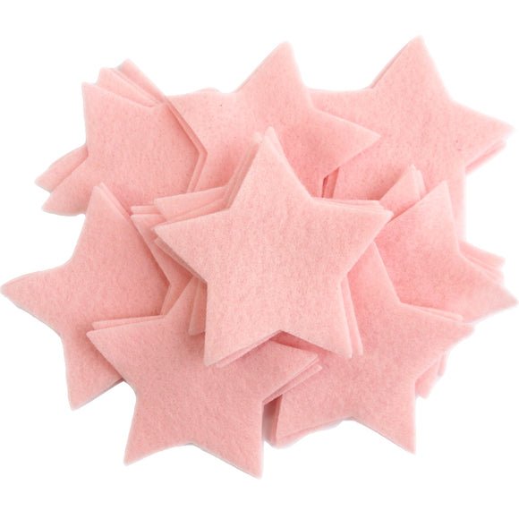 Craft Felt Light Pink 3 Inch Stars - 45pc