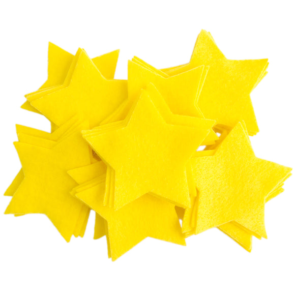 Craft Felt Yellow 3 Inch Stars - 45pc