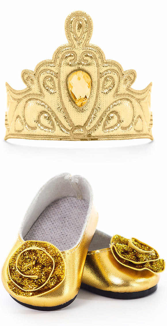 Little Adventures Gold Doll Shoes & Tiara