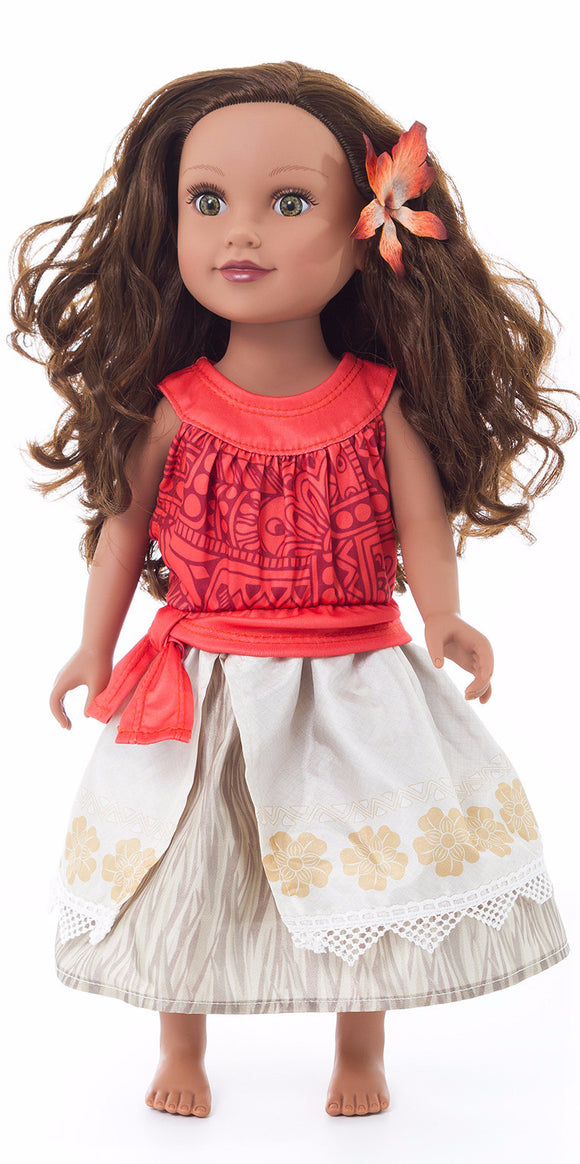 Little Adventures Polynesian Princess Doll Dress with Flower Clip
