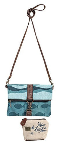 Mona B Upcycled Canvas Aqua Fold-Over Crossbody Bag ML-1005 with Coin Purse