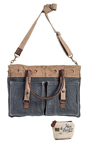 Mona B Riveted Upcycled Canvas Messenger Bag M-3723 with Coin Purse