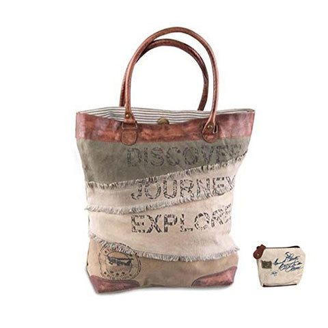 Mona B Journey, Discover, Explore Upcycled Canvas Tote Bag with Coin Purse