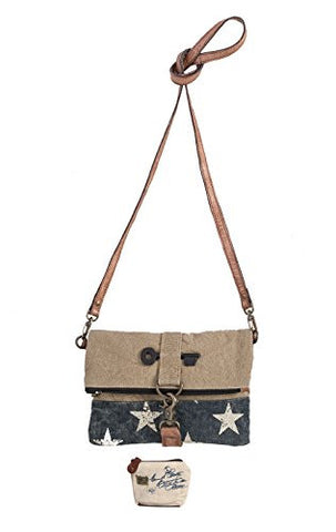 Mona B Stardust Upcycled Canvas Fold-Over Crossbody Bag M-3740 with Coin Purse
