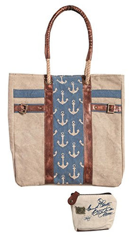 Mona B Admiral Upcycled Canvas Tote Bag M-3526 with Coin Purse