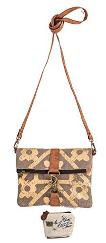 Mona B Mosaic Upcycled Canvas Mosaic Fold-Over Crossbody Bag M-3737 with Coin Purse