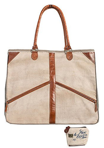 Mona B Peace Out Upcycled Canvas Shoulder Bag M-3801 with Coin Purse