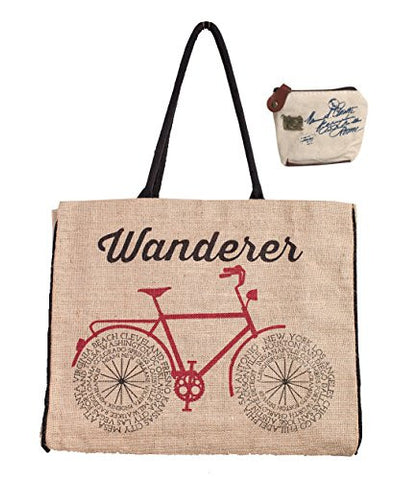 Mona B Wanderer Burlap Tote Bag B-243 with Coin Purse