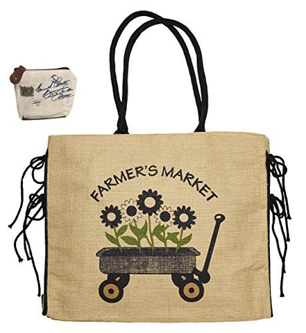 Mona B Farmers Market Upcycled Burlap Tote B-218 with Coin Purse