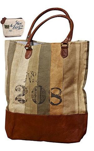 Mona B No. 208 Stamped Upcycled Canvas Bag M-2261 with Coin Purse