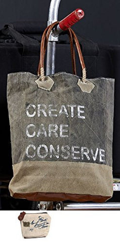 Mona B Create, Care, Conserve Upcycled Canvas Tote M-2851 with Coin Purse