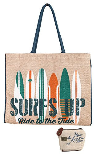 Mona B Surfs Up Burlap Tote Bag BL-248 with Coin Purse