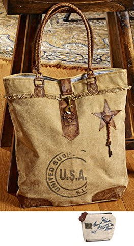 Mona B USA Stamped Upcycled Canvas Bag M-2054 with Coin Purse