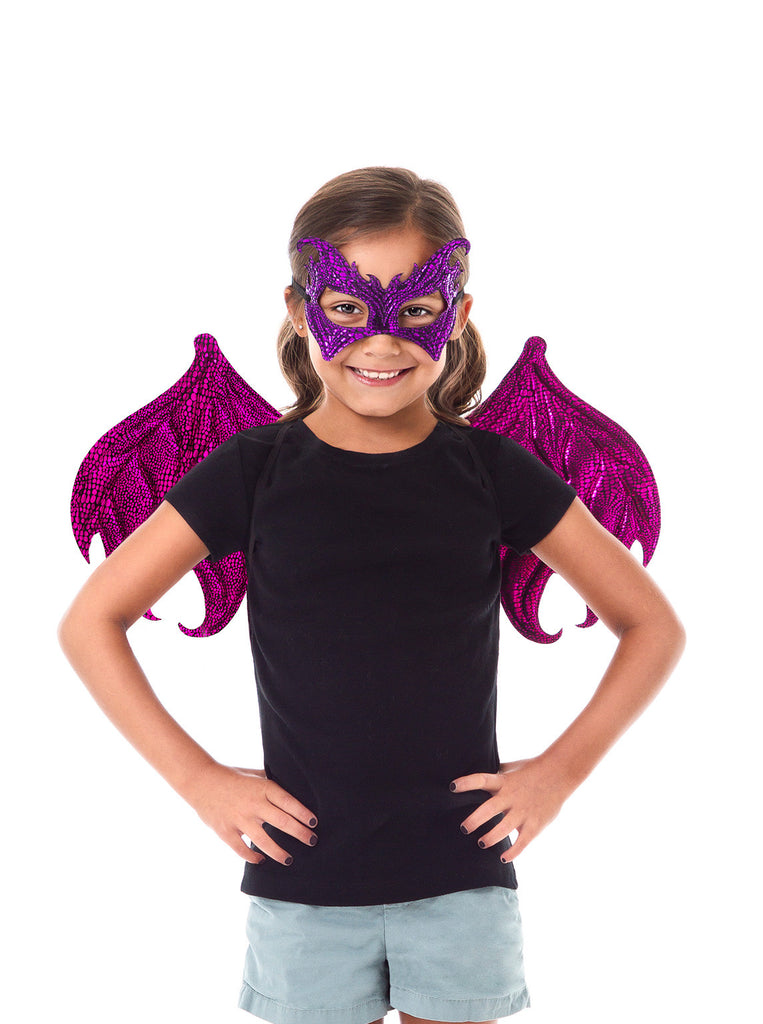 Little Adventures Pink/Purple Dragon Wings & Mask Set
