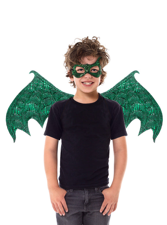 Little Adventures Green Dragon Wings & Mask Set