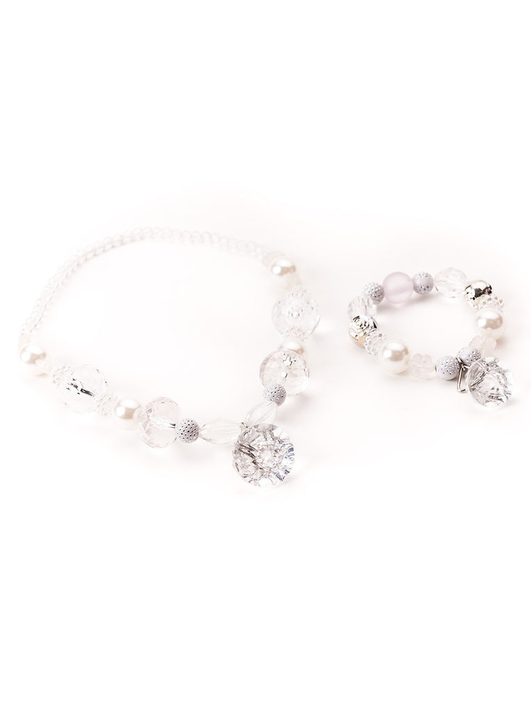 Little Adventures White Crystal Chunky Jewelry Set
