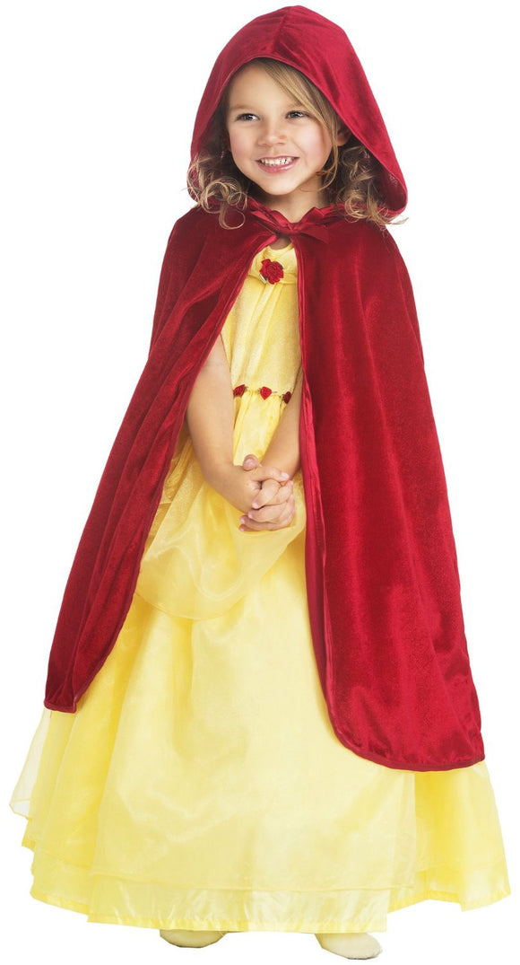Little Adventures 15043 Hooded Red Velvet Cloak Dressup Age 3-5 with Hairbow