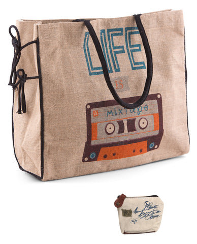 Mona B Life is a Mixtape Burlap Tote Bag with Coin Purse