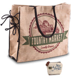 Mona B Country Market Burlap Tote Bag with Coin Purse