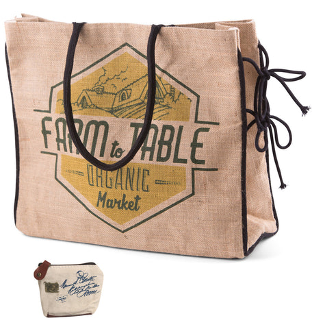 Mona B Farm to Table Burlap Tote Bag with Coin Purse