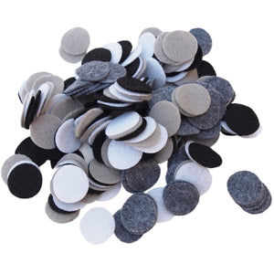 Black, White, Gray, Charcoal Felt Circles Color Set (3/4 to 5 inch)