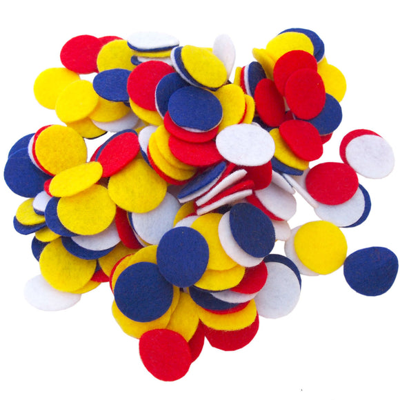 Blue, Red, Yellow, White Felt Circles Color Set (3/4 to 5 inch)
