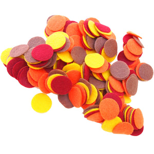 Cardinal Red, Cocoa Brown, Orange, Yellow Felt Circles Color Set (3/4 to 5 inch)