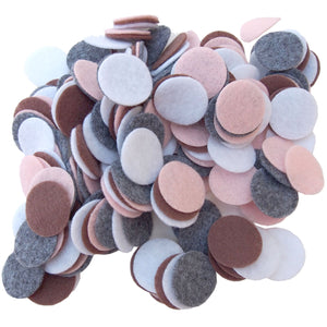 Charcoal Gray, Cocoa Brown, Light Pink, White Felt Circles Color Set (3/4 to 5 inch)