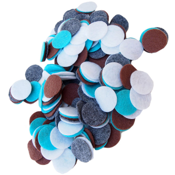 Charcoal Gray, Cocoa Brown, Turquoise Blue, White Felt Circles Color Set (3/4 to 5 inch)
