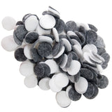 Charcoal, White Felt Circles Color Set (3/4 to 5 inch)