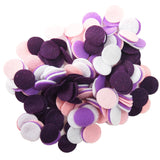 Dark Purple, Light Pink, Purple, White Felt Circles Color Set (3/4 to 5 inch)