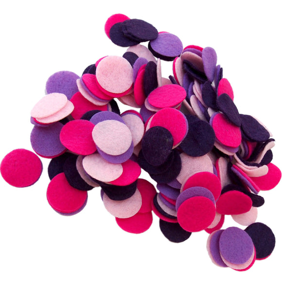 Dark Purple, Light Pink, Pink, Purple Felt Circles Color Set (3/4 to 5 inch)