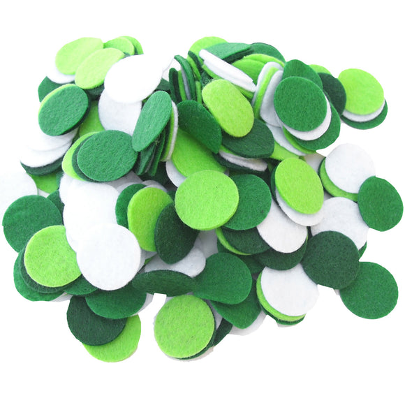 Dark Green, Green, Light Green, White Felt Circles Color Set (3/4 to 5 inch)